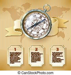 infographic, argento, bussola