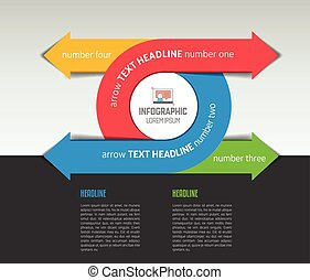 Infographic arrow circle template, diagram, chart with text fields.