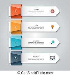 Infographic arrows. Vector template for business infographics with 4 options, steps, parts. Can be used for diagram, graph, presentation, chart, report, data visualization, web design