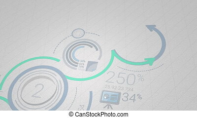 Infographic background in blue-green colors. 4K - The video...