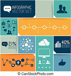 Infographic Background Set, interface tiles with infographic...