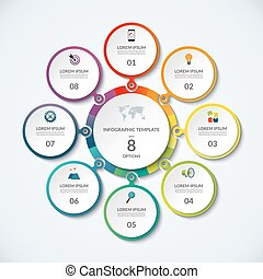 Infographic Banner With 7 Options Circular Template That