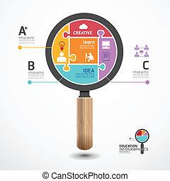 infographic, begreb, jigsaw, illustration, vektor, skabelon, forstørrelsesapparat, banner