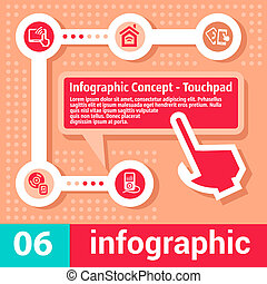 infographic, begrepp, touchpad