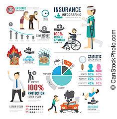 infographic, begriff, vektor, design, schablone, illustrat, versicherung