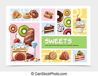 infographic, bonbons, concept, dessin animé