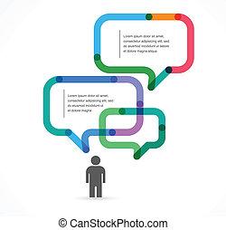 infographic, bulle, concept, parole, fond