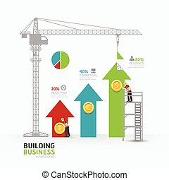 Infographic business arrow graph template design. building to success concept vector illustration / graphic or web design layout.