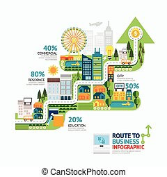 Infographic business arrow shape template design. route to success concept vector illustration / graphic or web design layout.