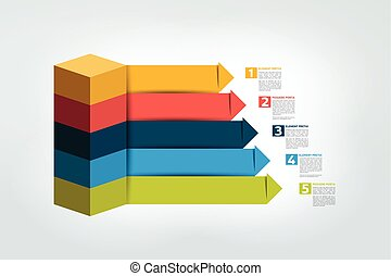 Infographic business arrows staircase diagram, template, chart, scheme. Vector.