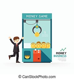Infographic business claw game template design. How to...