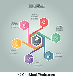 Infographic business concept with 6 options.