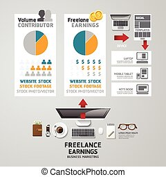 Infographic business freelance flat lay idea. Vector illustration concept. can be used for layout, advertising and web design.