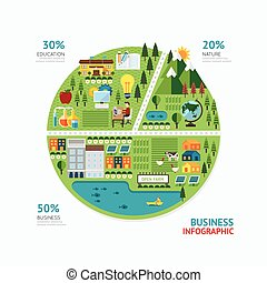 Infographic business graph shape template design. route to ...