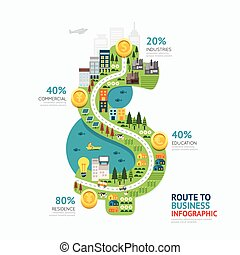 Infographic business money dollar shape template design. route to success concept vector illustration / graphic or web design layout.