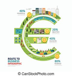 Infographic business money euro shape template design. route to success concept vector illustration / graphic or web design layout.