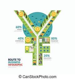 Infographic business money yen shape template design. route to success concept vector illustration / graphic or web design layout.