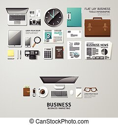 Infographic business office tools flat lay idea. Vector illustration hipster concept. can be used for layout, advertising and web design.