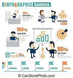 infographic Business Team work, success, communication, profits. on white background
