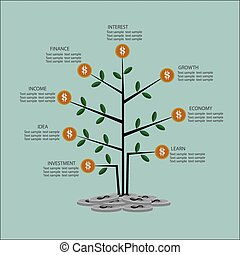 Infographic business  tree and coins