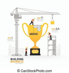 Infographic business trophies shape template design.building to success concept vector illustration / graphic or web design layout.