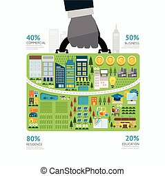 Infographic businessman hand hold business bag shape template design. route to success concept vector illustration / graphic or web design layout.
