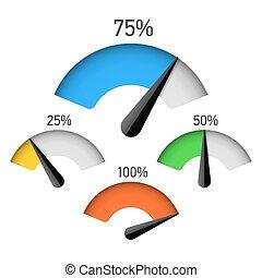 infographic, calibro, elemento
