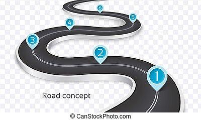 infographic, camino, bobina, plano de fondo, blanco, concepto, 3d