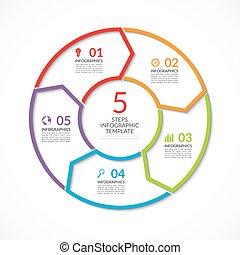 infographic, cerchio, template., semplice, vettore, concetto, bandiera, con, 5, opzioni, passi, parti