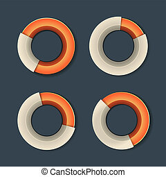 Infographic Chart Ring Diagram Set. Vector