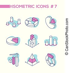 Infographic charts and diagrams - set of vector isometric elements