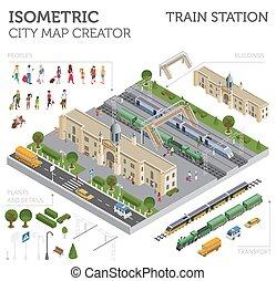 infographic, cidade, isometric, elementos, mapa, isolado, cobrança, trem, white., construtor, próprio, estação, estrada ferro, 3d, seu, construir