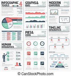 infographic, cielna, komplet, czerwony, elementy