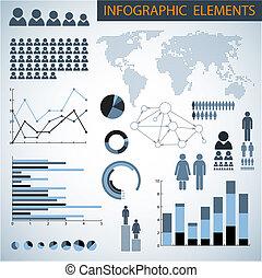 infographic, cielna, wektor, komplet, elementy