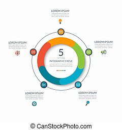 Infographic circle. 5 options, steps, parts. Business concept for diagram, graph, chart. Vector template