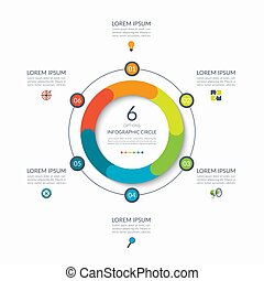 Infographic circle. 6 options, steps, parts. Business concept for diagram, graph, chart. Vector template