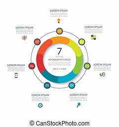 Infographic circle. 7 options, steps, parts. Business concept for diagram, graph, chart. Vector template