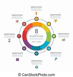Infographic circle. 8 options, steps, parts. Business concept for diagram, graph, chart. Vector template