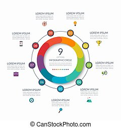 Infographic circle. 9 options, steps, parts. Business concept for diagram, graph, chart. Vector template