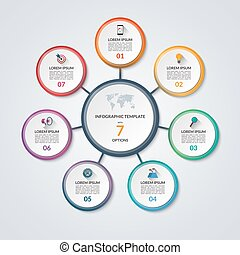 Infographic circle diagram template with 7 options -...