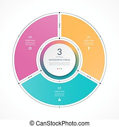Infographic circle in thin line flat style. Business presentation template with 3 options