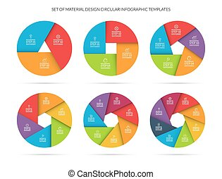 Infographic circle template set in material style - Vector...