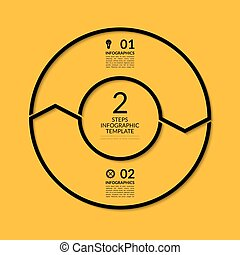 Infographic circle template. Simple black concept banner with 2 options, steps, parts. Can be used for graph, report, presentation, diagram, chart, web design