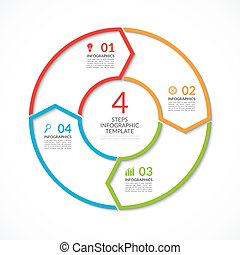 Infographic circle template. Simple vector concept banner with 4 options, steps, parts