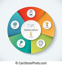 infographic, circle., vettore, opzioni, bandiera, con, 5, passi