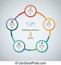 Infographic circle with 5 options. Round chart for business...