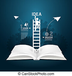 Infographic climbing ladder book diagram creative paper cut...