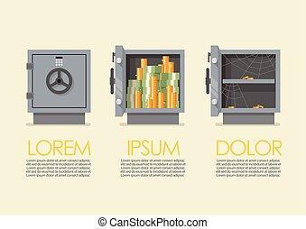 infographic, cofre, jogo, metal, segurança