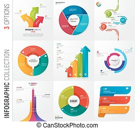 Infographic collection of 3 options vector templates