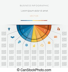 Infographic color semicircle template on nine positions